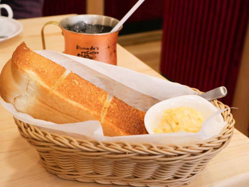 コメダ珈琲のモーニングB(トースト+玉子ペースト)